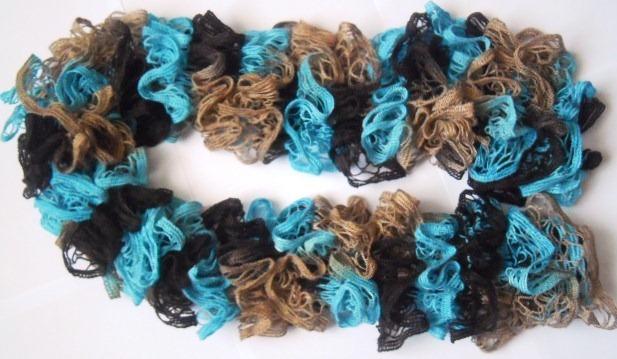 ажурный шарф из секционной пряжи