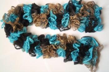 Миниатюра к статье Ажурный шарф из секционной пряжи спицами