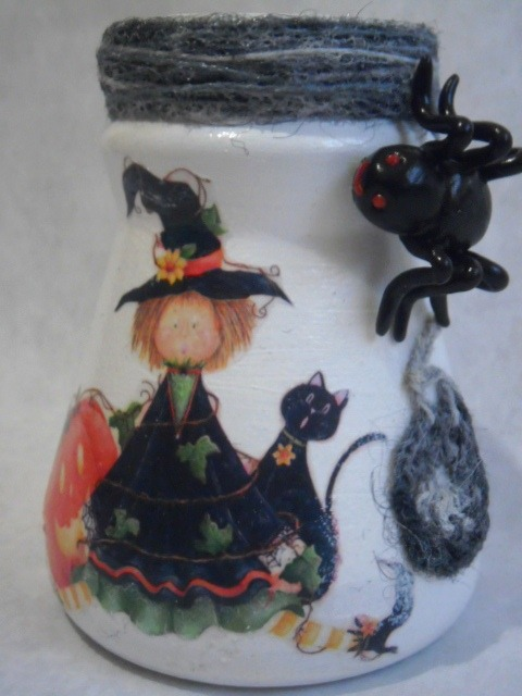ваза декупаж хеллоуин