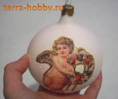 декупаж новогоднего шара своими руками