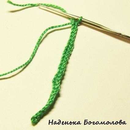 провязать цепочку столбиками без накида