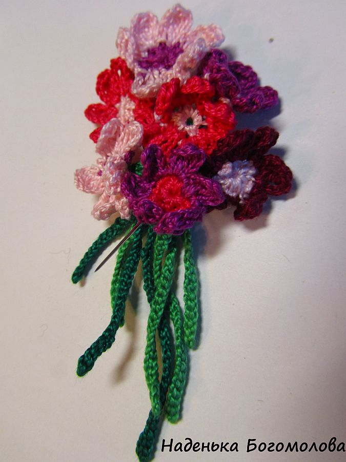 Вязание цветов или букетов крючком 182