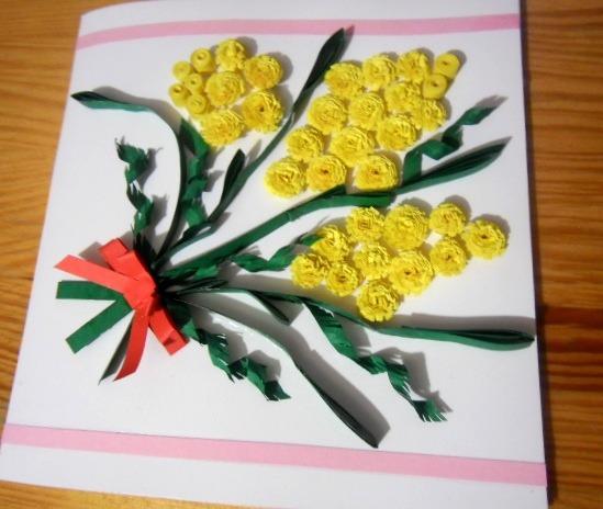 открытка с мимозой в технике квиллинг