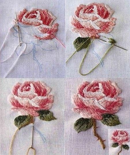 вышивка объёмной розы процесс