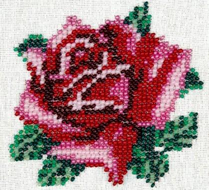 вышивка розы бисером