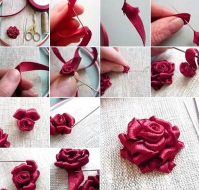 вышивка розы лентами