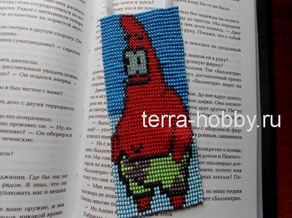 закладка из бисера для книг в технике ручного ткачества