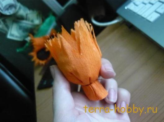 цветок из конфеты подсолнух