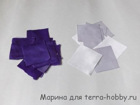 нарезать квадраты из лент для канзаши