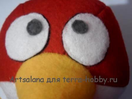 Как сшить красную злую птичку из игры Энгри Бердс из фетра