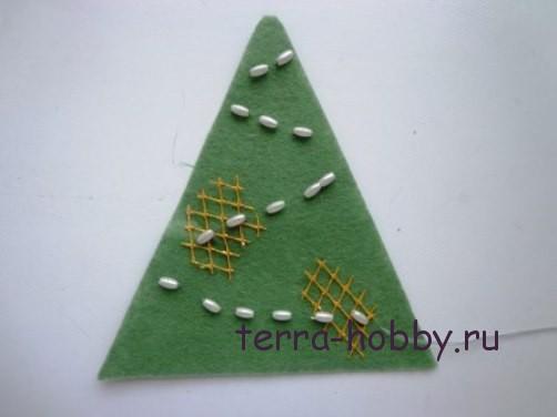 новогодняя открытка с елкой из фетра10