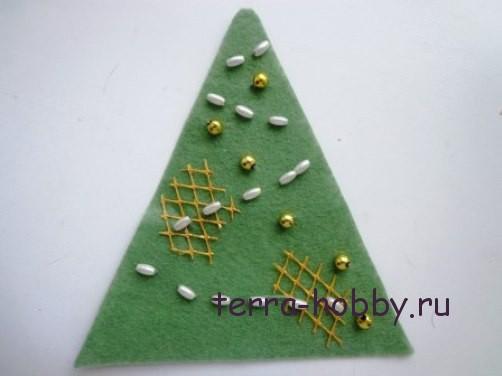 новогодняя открытка с елкой из фетра11