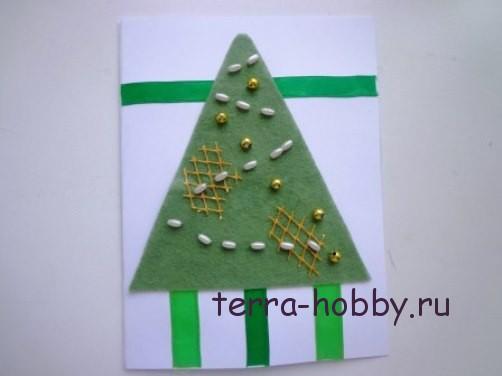 новогодняя открытка с елкой из фетра12