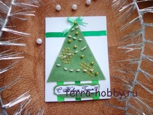 новогодняя открытка с елкой из фетра17