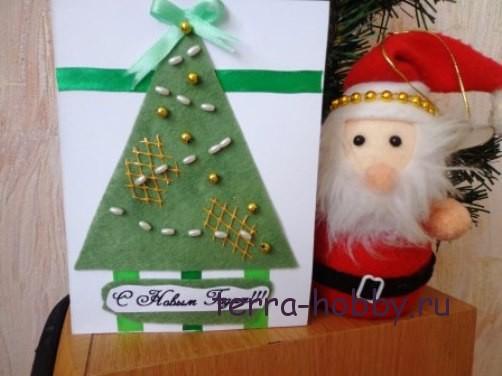новогодняя открытка с елкой из фетра19