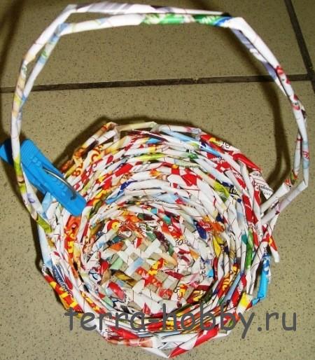 плетение ручки корзины из газетных трубочек