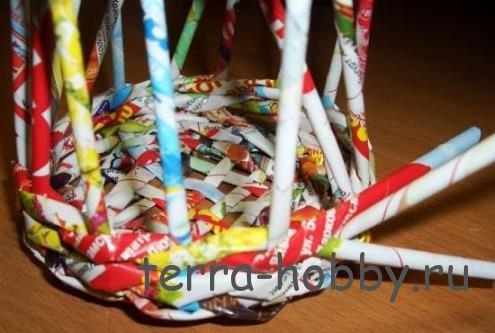 плетение корзины из газетных трубочек