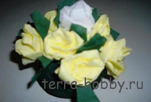 цветы из салфеток для корзины