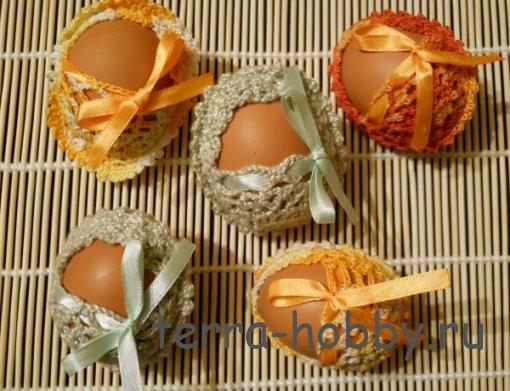 корзина крючком для пасхальных яиц