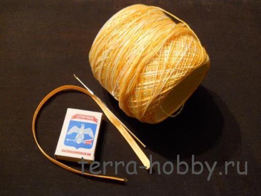 материалы и инструменты для вязания корзины