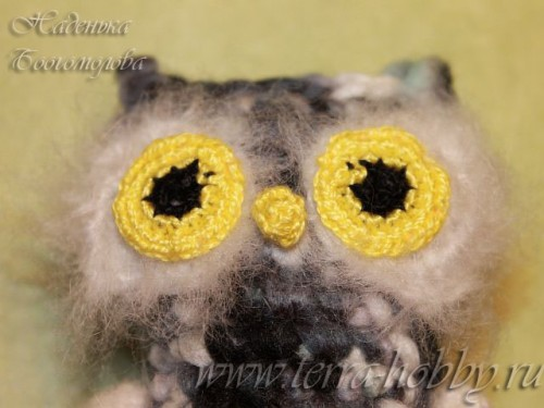 пришить глаза и клюв сове