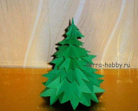 елка из бумаги с зубцами