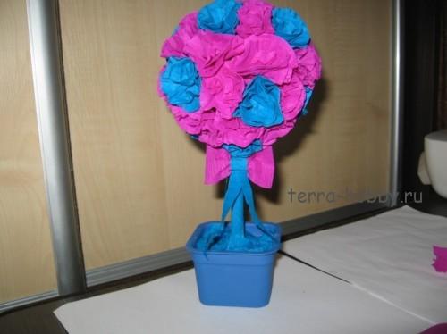 Дерево счастья из гофрированной бумаги своими руками