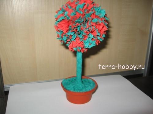 дерево счастья из гофрированной бумаги