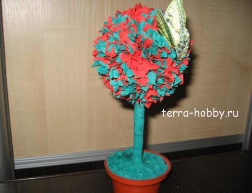Топиарий из гофрированной бумаги  дерево счастья
