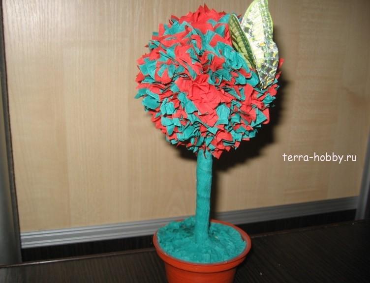Деревья из гофрированной бумаги своими руками мастер класс 69