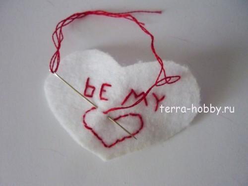 вышивка на сердце