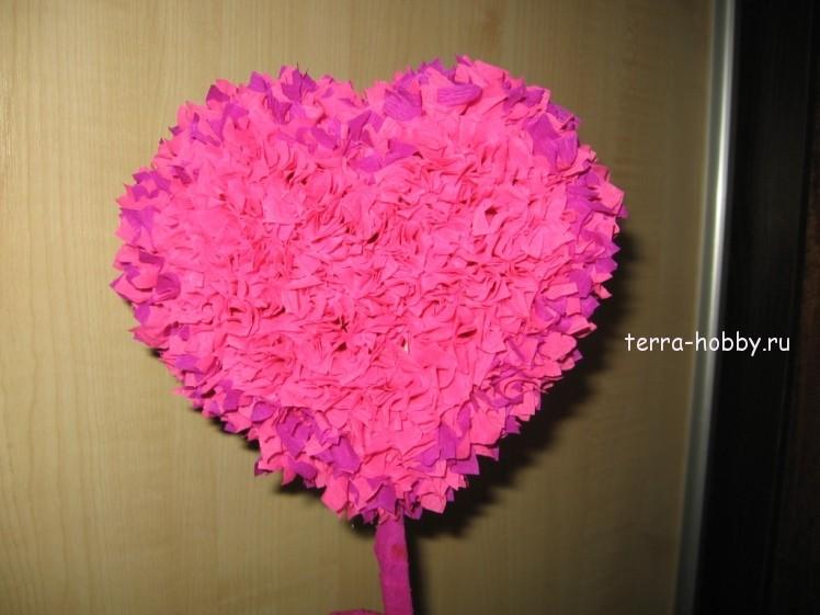 Сердце из роз своими руками из гофрированной бумаги 74