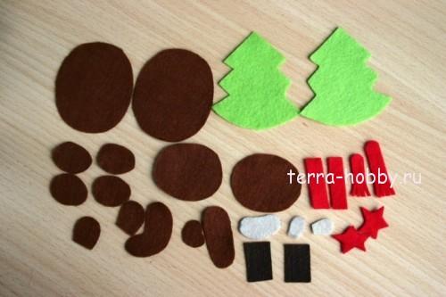 Новогодние игрушки из фетра детали