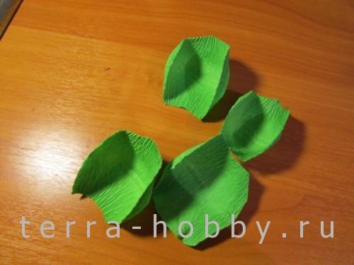 листья из бумаги для розы