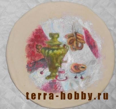 роспись тарелки красками