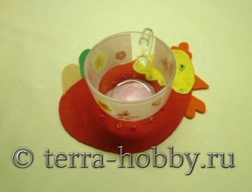 подставка для чашки «Петух» из фетра