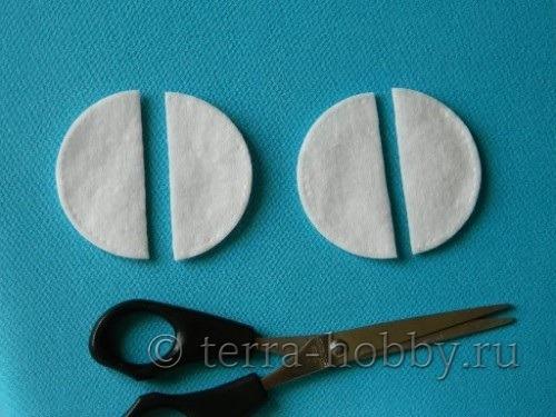 детали для поделки петушок из ватных дисков
