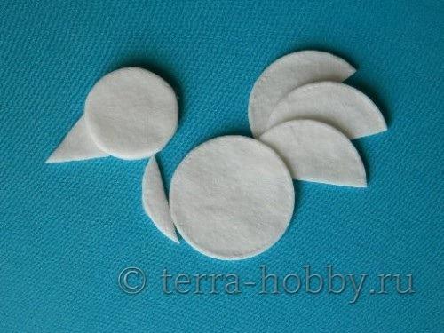 аппликация петушок из ватных дисков