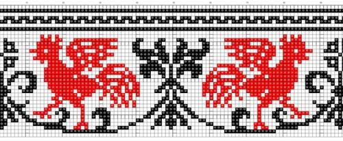 орнамент вышивка петуха
