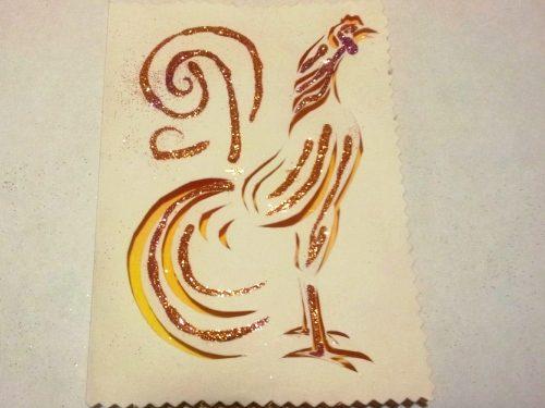 открытка вытынанка петух