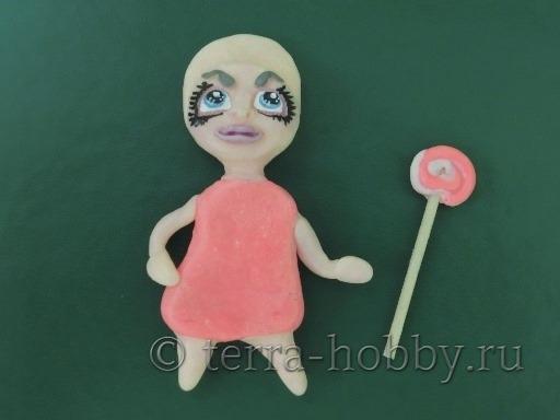 лицо для куклы магнит из полимерной глины