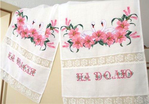 цветы на свадебном рушнике