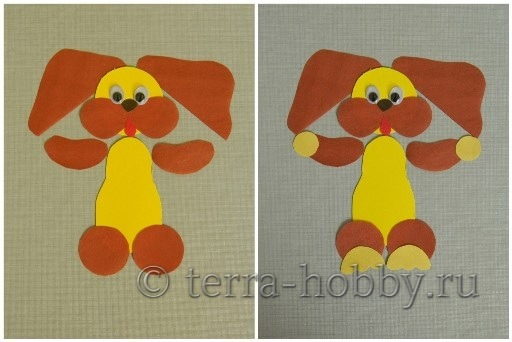 Собачка из цветной бумаги