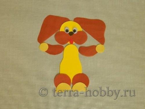 собака из цветной бумаги