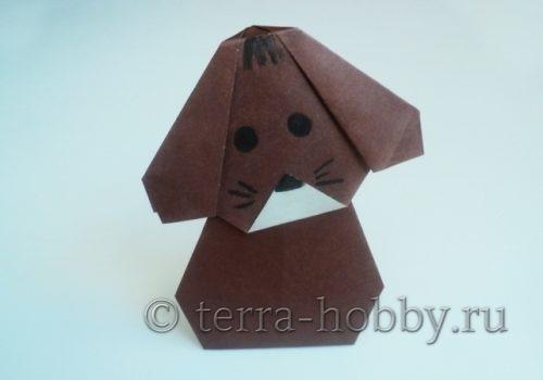 как сделать собаку оригами из бумаги