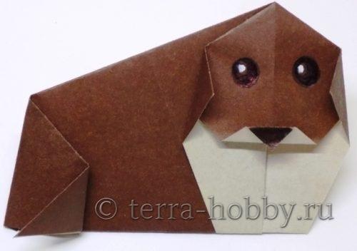 собака оригами из бумаги