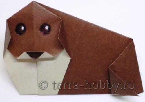 собакак оригами из бумаги
