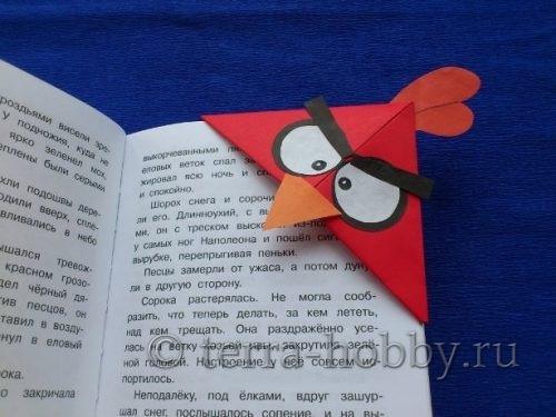 Закладка оригами Энгри Бердз Ред