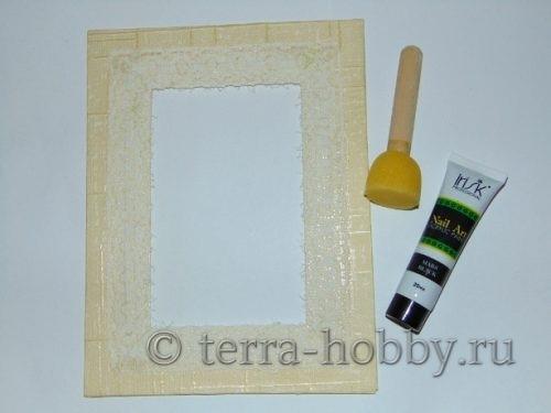 акриловая краска, спонжик и рамка