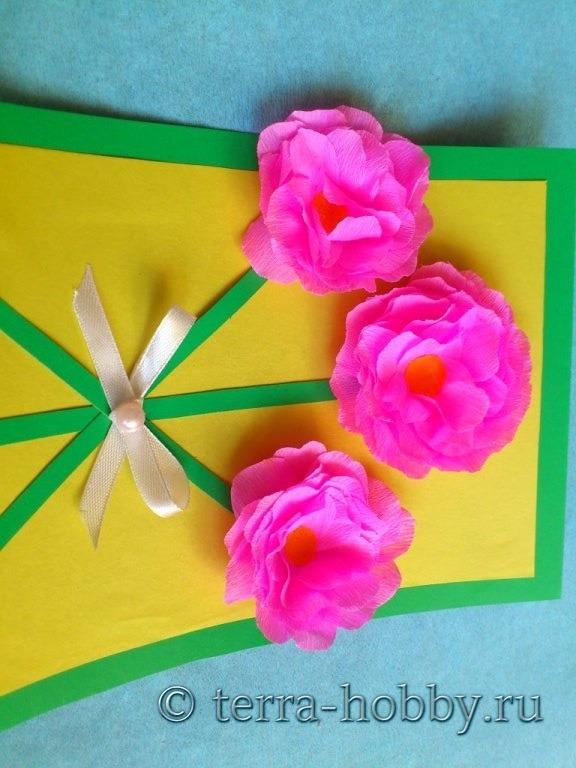 открытка с объемными розами